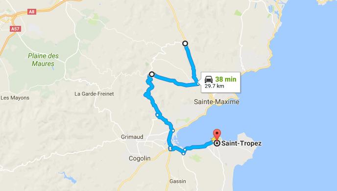 St Tropez to Le Muy Shortcut