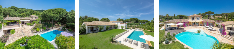 Aerial photos of villas in St Tropez