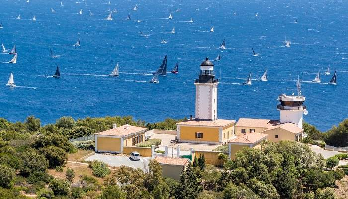 Aerial view of St Tropez and the sea_sailing boats in the water_sailing competition