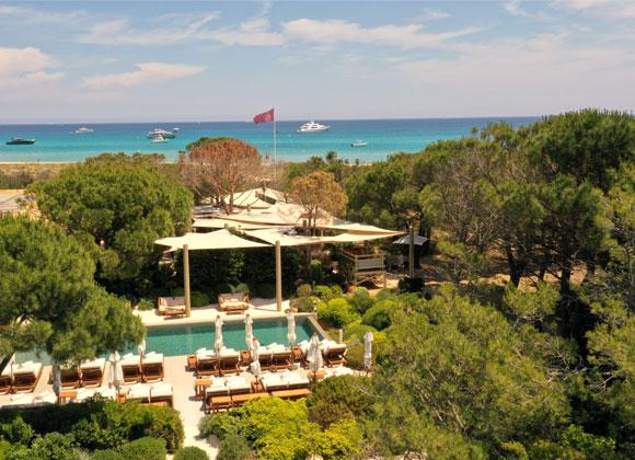 Bird view over Gigi Beach Club in St Tropez