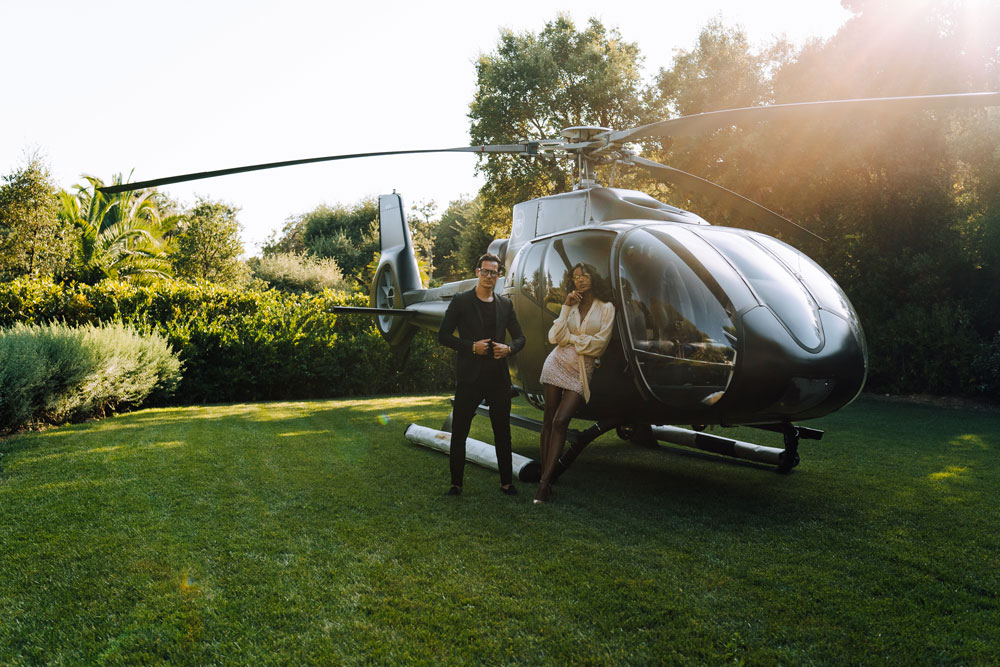 arrive in st tropez by helicopter